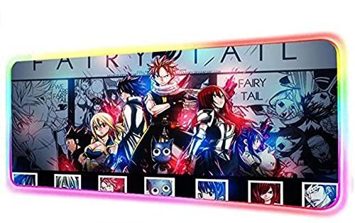Anime Fairy Tail Gaming - Alfombrilla de ratón RGB con bloqueo de borde para ratón y teclado, 14 colores, 900 x 400 mm