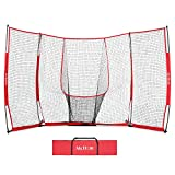 McHom 12 x 8 feet Baseball / Softball Backstop, Large Practice Net | Mini Baseball Diamond for Hitting, Pitching, Batting and Fielding Practice | Collapsible and Portable