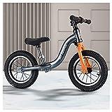 QMMD Bicicleta 14 Pulgadas para Niños de 4-9 años Bicicleta Sin Pedales para Niños y Niñas Correpasillos Regalos SillíN Regulable Bicicleta Equilibrio,Negro