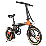 Macwheel Electric Bike, 16 inches Advanced Ebike with a 250W Brushless Motor, Dual-Disc Brakes, 3 Riding Modes for Adults and Teenagers, Folding Ebike with Pedals