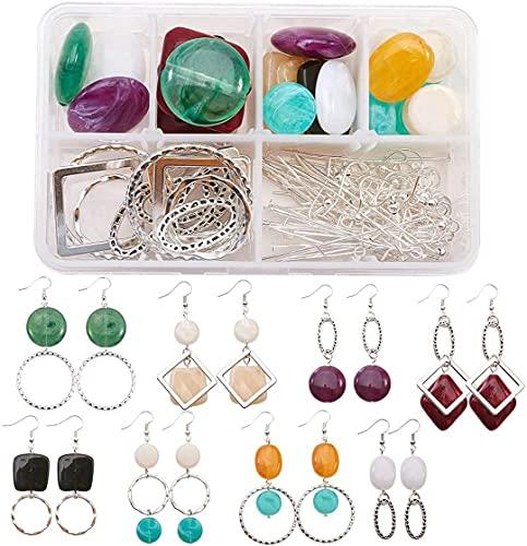 Kit para hacer pendientes de 8 pares con cuentas acrílicas de imitación de piedras preciosas, anillos de enlace de aleación, anillos de salto de hierro y ganchos para pendientes de latón
