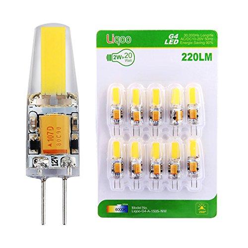 Liqoo® 10er G4 LED COB Lampe Energiesparlampe 2W 220Lumen 6000K Kaltweiß Ersetzt 20W Abstrahlwinkel 260º AC DC 12V Ø9,6 x 37,5 mm