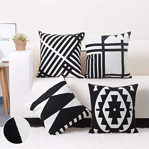 baibu 100% Cotton Embroidery Decor Throw Pillow Case Black and White...