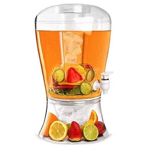 bar@drinkstuff Distributore di bevande da 6 litri con brocca, plastica senza BPA, con contenitore per cubetti di ghiaccio, può servire fino a 10 pinte