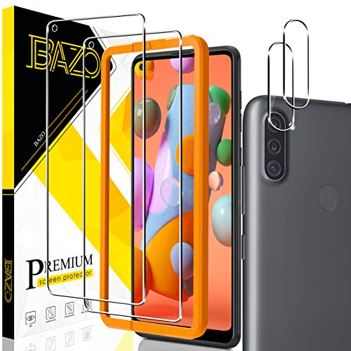 [2+2 Pack] BAZO Tempered Glass Screen Protector and Camera Lens Protector for Samsung Galaxy A11, [Alignment Easy Installation Frame][Anti-Scratch] Bubble Free HD Clear [Cases Friendly]