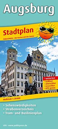 Stadtplan Augsburg: Mit Sehenswürdigkeiten, Straßenverzeichnis, Tram- und Buslinienplan, wetterfest, reißfest, abwischbar, GPS-genau. 1 : 20 000