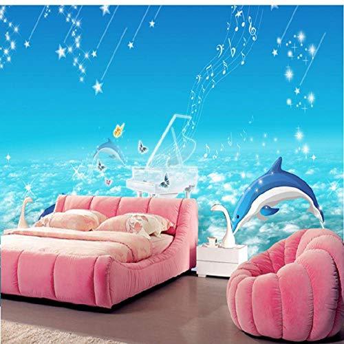 MRQXDP Fototapete, 3D-Delfin, Kinderzimmer, warm, Kindergarten, Schule, Spielplatz, Schlafzimmer, Wohnzimmer, Wandbild 280x424cm