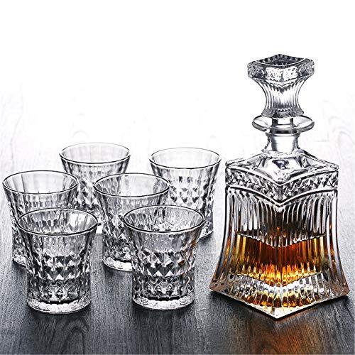 Decantador Whisky Botella Cristal de cristal Vino Cerveza Contenedores Botella de vidrio Copa de vidrio Hogar Bar Herramientas Decoración 6 cups