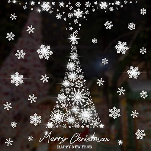 Caiery 100 pcs Glitzer Schneeflocken Weihnachtsbaum Fensterbild, PVC Aufklebe, Winter-deko Weinachts Dekoration, Weihnachten Fenstersticker(Silber Glitzerpulver)