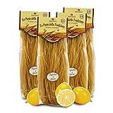 Brezzo Tagliolini de Trigo Duro al Limón | Elaborada de Forma Artesanal | Pack de 4 x 250 Gramos
