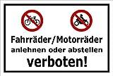 Melis Folienwerkstatt Schild - Fahrräder Motorräder - 30x20cm | Bohrlöcher | 3mm Aluverbund – S00050-048-A -20 VAR.