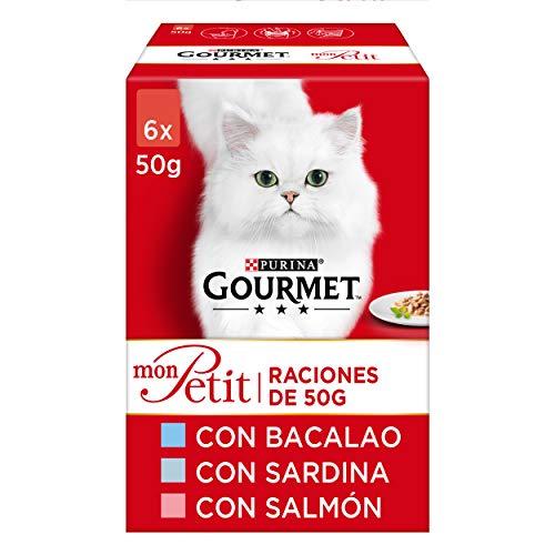 Purina Gourmet Mon Petit comida para gatos con Bacalao, Sardina y Salmón 8 x [6 x 50 g] ⭐