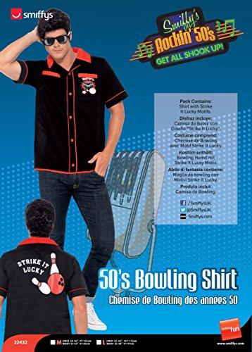Smiffy's 22432L - 50 Bowling-Hemd mit Schlag Es Glückliches Motive