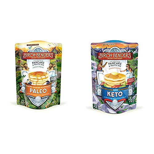 Birch Benders Paleo Pancake & Waffle Mix, Made With Cassava, Coconut & Almond Flour, 28 Oz & Keto Pancake & Waffle Mix, Low-Carb, High Protein, Grain-free, Gluten-free, 16 Ounce (Pack of 1)