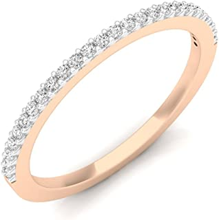 (Rose-Gold, 8) - 0.18 Carat (ctw) 18K Gold Round Diamond Ladies Anniversary Stackable Ring Wedding Band