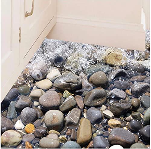 Etiqueta Engomada De La Pared De Piedra De La Playa 3D Extraíble Pegatinas De Suelo De Baño De Cocina Calcomanía Diy Decoración Del Hogar Mayitr Mural