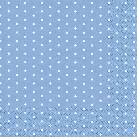 20 Servietten weiße Mini-Punkte auf hellblau/gepunktet/Muster/zeitlos 33x33cm
