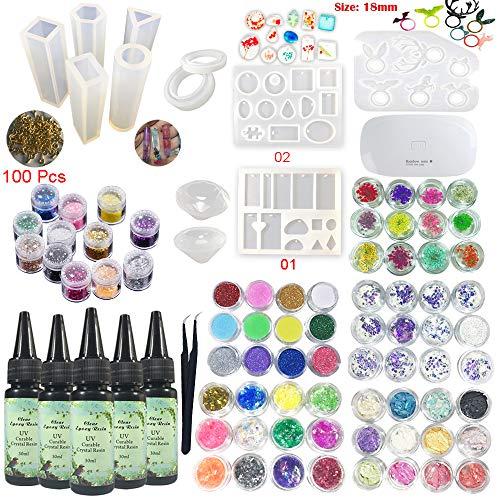 UV-epoxyhars 5x30ML 12 siliconen mallen 72 decoraties Glitterbloemen Holografische pailletten Parelmoer schelpen + Compacte UV-lamp en pincet voor sieraden MAKEN Hangers Oorbellen Armbanden Ringen