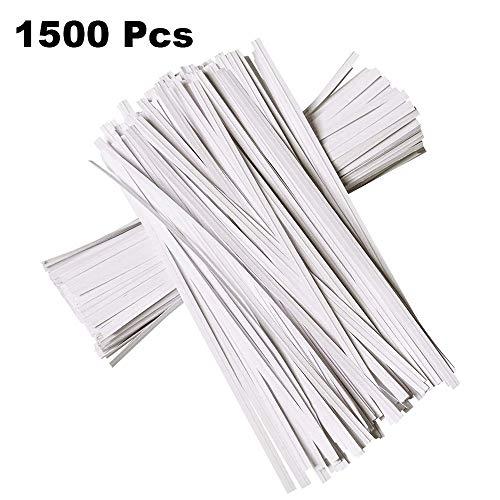 N/ A 1500 Piezas 4.7 Pulgadas de Corbatas de Papel Kraft, Corbatas de Pan Reutilizables Flexibles Blancas para Bolsa de Embalaje Valentines Gift Electronics Cords (Blanco)