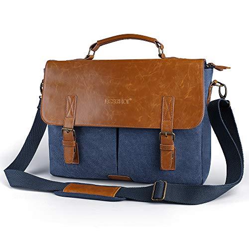Beschoi 14 inch Laptop Messenger Bag Leather Vintage Canvas Briefcase, Computer Shoulder...