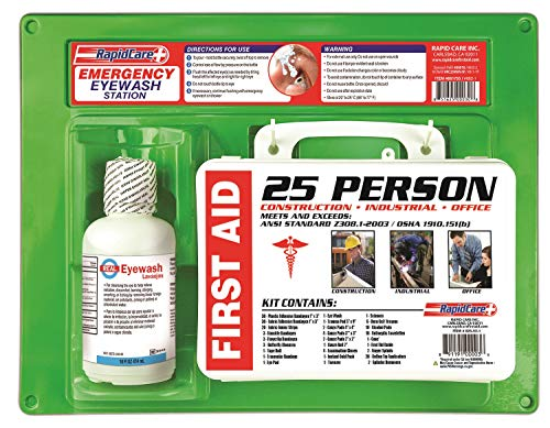 Rapid Care First Aid 661755 16 oz Eye Wash Station with First Aid Kit (166 Piece for 25 Person), OSHA/ANSI & FDA Compliant, Wall Mountable, 17