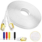 Boahcken Cat 7 Ethernet Cable 40 ft White,High Speed Flat RJ45 Cat-7/Category 7 Internet LAN Computer Patch Cord Cable,Shielded - Solid,Faster Than Cat5e/cat6,Suitable for LAN, Camera, Router, Modem