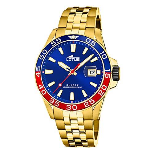 LOTUS Reloj Modelo 18770/3 de la colección Excellent, Caja de 43,85 mm Azul con Correa de Acero Chapado para Caballero