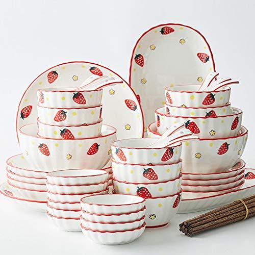 TQBHD Juego de vajillas de cerámica de 56 Piezas, Platos para el hogar y Conjunto de combinación de Cuchara, diseño de patrón Lindo Creativo (Color : B)