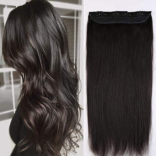 S-noilite Extension a Clip Cheveux Naturel Monobande Type Epais - Rajout Vrai Cheveux Humain - #1B Noir Naturel - 60 cm (105g)