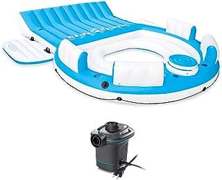 Intex Inflatable Island Pool Lake Raft Float Lounger w/AC Electric Air Pump