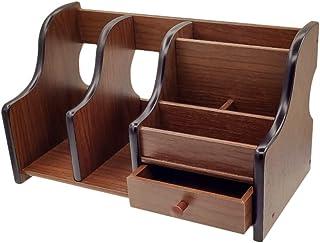 $27 » Coideal Wooden Office Supplies Desk Organizer with Drawer 6 Compartments Wood Desktop Storage Caddy Storage Holder Organizer for Mail, Pen Pencil (Brown & Black)