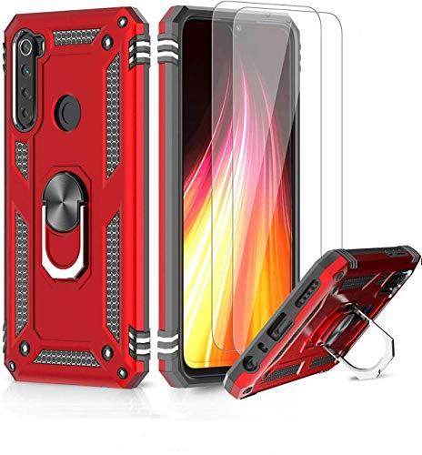 LeYi für Xiaomi Redmi Note 8 Hülle mit Panzerglas Schutzfolie(2 Stück),360 Grad Ring Halter Handy Hüllen Cover Magnetische Bumper Schutzhülle für Case Xiaomi Redmi Note 8 Handyhülle Rot