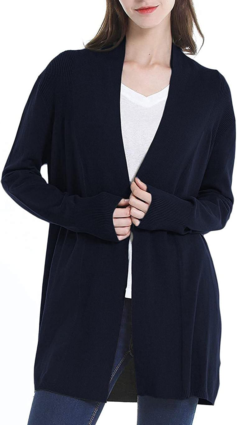 Cardigan for Women Long Sleeve Lightweight Open Front Solid Color Soft Stretch Knit Sweater Coat Outwear