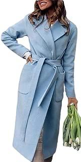 Macondoo Women Fall Winter Lapel Open Front Outwear Wool-Blend Peacoats