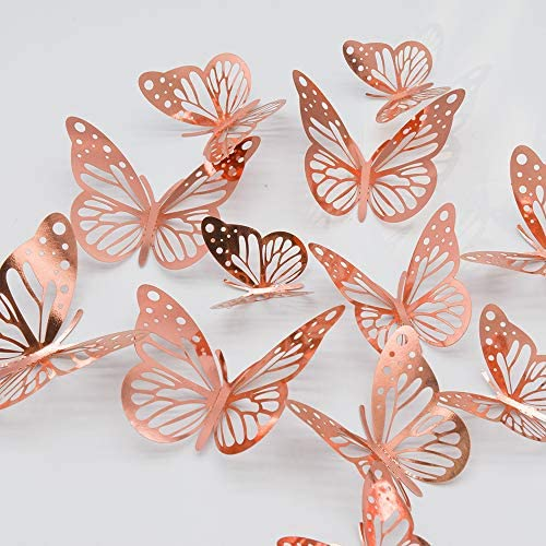 paperbgspen 3D Butterfly Wall Stickers 48PCS Rose Gold Butterfly Wall Decals Decorations Stickers product image