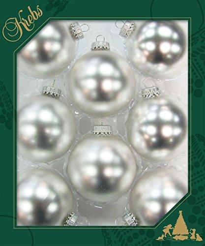 Dekohelden24 ORIGINAL LAUSCHAER Christbaumschmuck - 8er Set Kugeln Uni Silber matt, 6,7 cm, mit silbernem Krönchen + 50 Schnellaufhänger in Silber GRATIS zu Ihrer Bestellung dazu !