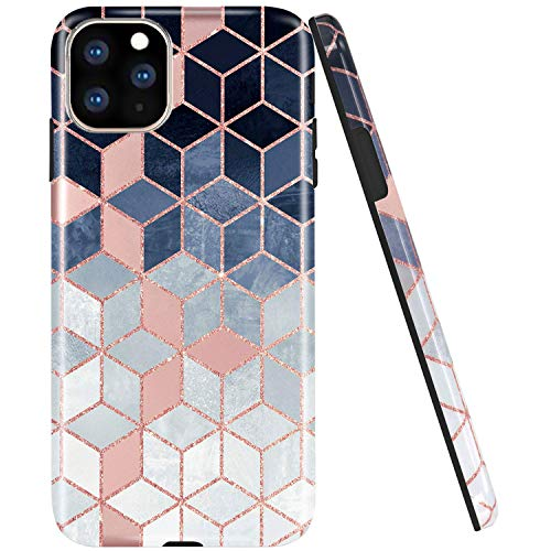 JAHOLAN iPhone 11 Pro Max Case Shiny Gradient Cubes Design Clear Bumper TPU Soft Rubber Silicone Cover Phone Case for iPhone 11 Pro Max 6.5 inch 2019 - Rose Gold Blue