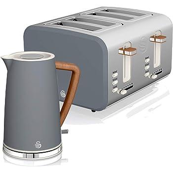 Swan Nordic Set Desayuno Hervidor de agua inalámbrico 1,7L 2200W, Tostadora Pan ranura ancha 2 rebanadas, 3 funciones, diseño moderno, efecto madera, gris: Amazon.es: Hogar