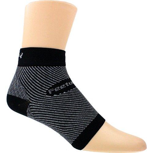 Feetures Unisex Plantar Fasciitis Sleeve Black/White Socks LG/XL (Men's 10-14, Women's 11-13)