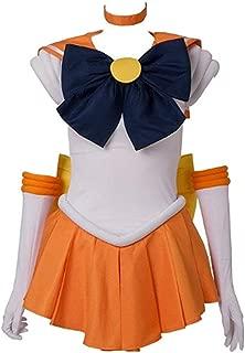 ANOTHERME Women's Costume Sailor Moon Minako Aino Venus Cosplay Outfit Uniform Dress Suit Female