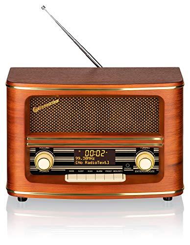 Roadstar Digitales DAB+ Retro Radio (DAB, DAB+, UKW-Radio, AUX-In, 16 Watt Musikleistung), holzfarben HRA-1500/D+