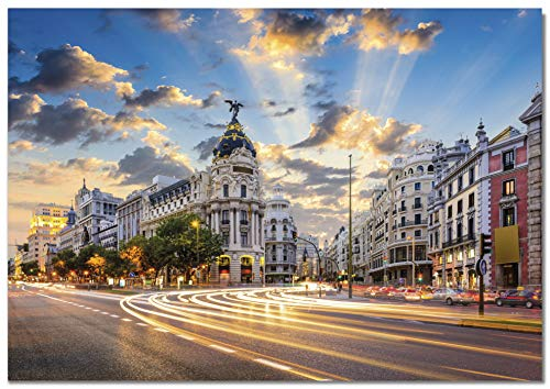 Panorama Lienzo Gran Vía Madrid 100 x 70 cm Impreso en Lienzo Bastidor Cuadros Decoración Salón Cuadros para Dormitorio Cuadros Lienzos Decorativos Cuadros Modernos