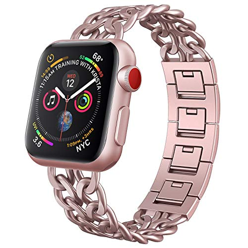 NO1seller Top Band Compatible for Apple Watch Series 4 40mm 44mm Series 3 2 1 38mm 42mm Women Men,Cowboy Stainless Steel Metal Replacement Accessories Bling Jewelry Iwatch Wristband Strap Bracelet