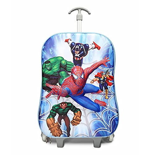 Niños Mochila Spiderman Vengadores Mochilas Ruedas Mochilas Informales Moda Kit Almuerzo Niños Bolsas De Picnic Al Aire Libre Impermeables Película Mochilas Escolares De Anime,Blue-34*13*43cm