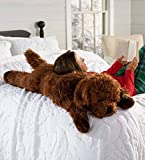 Plow & Hearth Fuzzy Body Pillow, Super-Soft and Super-Dense Faux Fur, Jumbo Plush Pet Pal, Beaded Eyes, Polyfill Stuffing, 45' L (Labradoodle)