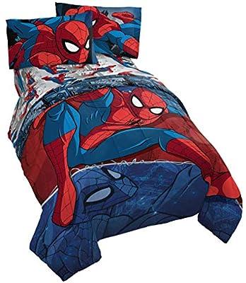 Jay Franco Marvel Spiderman Burst 5 Piece Full Bed Set - Includes Reversible Comforter & Sheet Set - Bedding - Super Soft Fade Resistant Microfiber (Official Marvel Product)