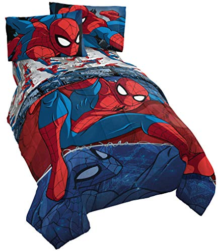 Jay Franco Marvel Spiderman Burst 4 Piece Twin Bed Set – Includes Reversible Comforter & Sheet Set – Bedding – Super Soft Fade Resistant Microfiber – (Official Marvel Product)