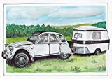 Postkarte 2CV mit Eriba Puck