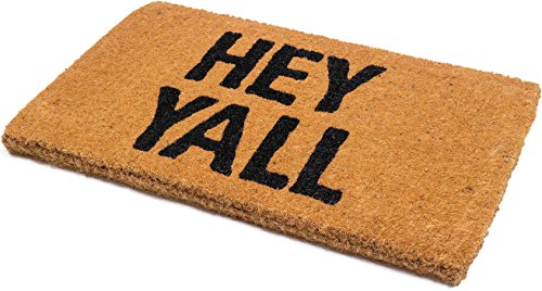 Handwoven, Extra Thick Doormat | Entryway Door mat for Patio, Front Door | Decorative All-Season | Hey Yall | 18' x 30' x 1.60'