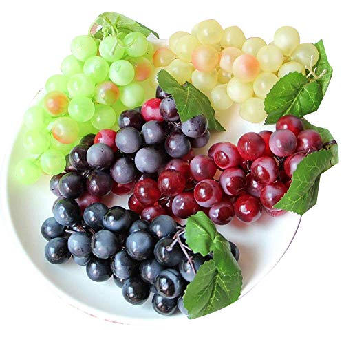 chengsan Artificial Grapes,4 Bunches of Artificial Green Yellow Purple Black Artificial High Simulation Grapes, False Fruit Fake Grapes Decorative, Kitchen, Office and Photography Props(4 Colors)